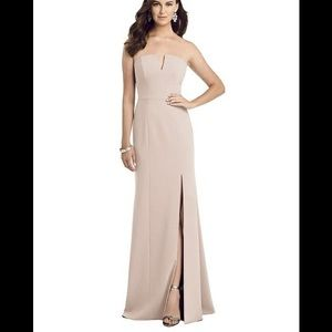 Strapless Notch Crepe Gown with Front Slit 3062